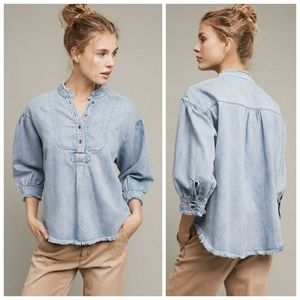 Anthropologie Holding Horses Frayed Chambray Top S